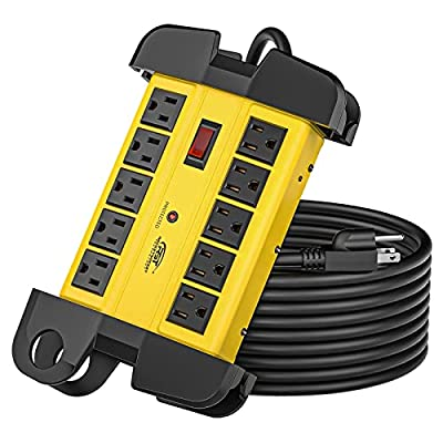 2.  CRST 10-Outlets Heavy Duty Power Strip Metal Surge Protector