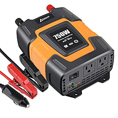2.  Power Inverter by Ampeak with 750 Watts for Truck Use and Dual 3.1Amp USB with AC Outlets